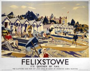 Felixstowe England. Its Quicker by Rail. English Railway Travel Poster Print,